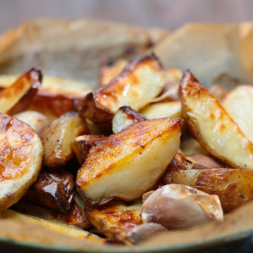 roasted potatoes, potatoes, oven baked potatoes, served with leg of lamb, side dish